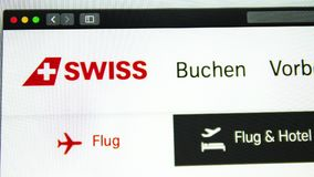 Air carrier Swiss website homepage. Swiss logo visible royalty free illustration