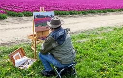 Washington, USA - April 16, 2010: Male artist on painting on canvas in outdoor. Plein-air. Stock Image