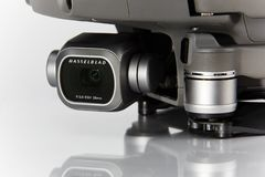 Mavic pro 2 drone. Hasselblad camera close-up. Technology royalty free stock image