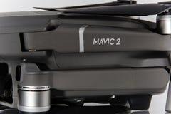 Mavic 2 pro logo close-up. Drone body macro. Technology royalty free stock photos