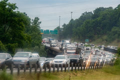 WASHINGTON, USA - JUNE, 23 2016 Maryland congested highway on rainy day Royalty Free Stock Photo
