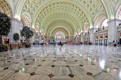 WASHINGTON, USA - JUNE 24 2016 - washington dc union station internal view on busy hour. WASHINGTON, USA - JUNE 24 2016 - washington union station internal view royalty free stock photography