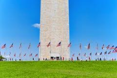 Washington USA, Washington Monument är en obelisk på nationen Arkivbilder
