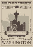Washington vector american poster. USA travel illustration. United States of America card with lake. Retro style Royalty Free Stock Photos