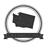 Washington vector map stamp. Retro distressed insignia with US state map. Hipster round rubber stamp with Washington state text banner, USA state map vector Royalty Free Stock Photo