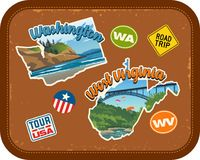 Washington, West Virginia travel stickers with scenic attractions. And retro text on vintage suitcase background Royalty Free Stock Image