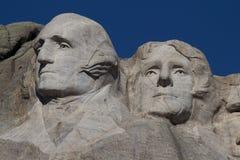 Washington y Jefferson en el montaje Rushmore Imágenes de archivo libres de regalías