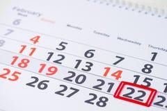 Washingtonsverjaardag 22 februari teken op de kalender royalty-vrije stock fotografie