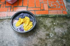 Washiwashing  soak dirty clothes in the basin black for clean Close up Royalty Free Stock Photos