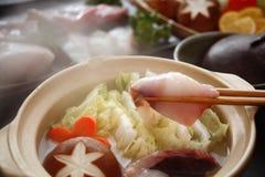 WASHOKU, een geroepen pottenschotel van gekookte vissen, 'ankou-nabe' Royalty-vrije Stock Foto