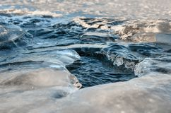 Washout. Bumpy surface of the frozen river Stock Images