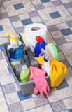 Cleaning bathroom clean kitchen Royalty Free Stock Images