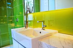 Washroom facility. Shower and washroom in a luxury condominium Stock Photo