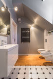 Washroom with inclined wall. Small grey modern bathroom with inclined wall Stock Photography