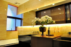 Washroom interior ornaments and lighting. Washroom interior lighting and outfit, shown as fine setting place in house living, luxury and comfortable life style royalty free stock images