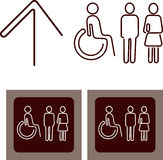 Washroom sign with male, female, disabled person s Stock Image