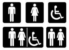 Washroom sign - restroom symbol drawing by illustration. Washroom sign - restroom symbol.Male Washroom Icon,Female Washroom Icon collection in black background royalty free illustration