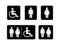 Washroom symbole inkasowi Męski washroom znak Żeński washroom znak wektor ilustracji