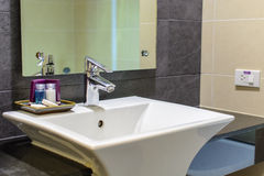 Washroom. Washbasin in toilet with soap and shower lotion Stock Photography