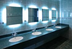 Washstands in public toilet Royalty Free Stock Images