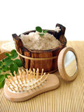 Washtub with bath salt Royalty Free Stock Photography