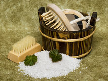 Washtub with bath salt Royalty Free Stock Image