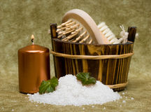 Washtub with bath salt Stock Photography