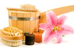 Washtub with candles and flower Stock Image