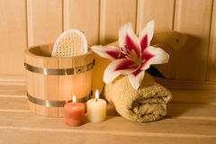 Washtub with candles and flower Royalty Free Stock Image