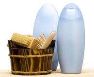 Washtub mit Pinsel Stockfoto