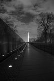 Waslhington Monument at Night. The Washington Monument as seen from the Vietnam Veterans Memorial stock photo