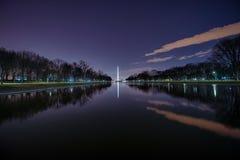 Waslhington Monument at Night. The Washington Monument reflected in the reflecting pool at night Stock Images