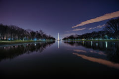 Waslhington Monument at Night. The Washington Monument and the reflecting pool royalty free stock photos
