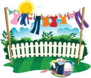 Waslijn en kleren Stock Afbeelding