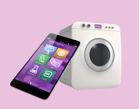 Wasmachine door slimme telefoon wordt gecontroleerd die Concept voor Internet van dingen royalty-vrije stock afbeeldingen
