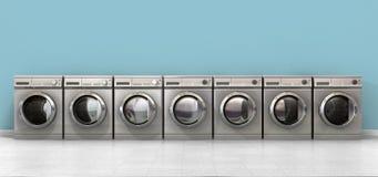 Wasmachine Lege Rij Stock Foto