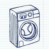 Wasmachine op schoolvoorbeeldenboek royalty-vrije illustratie