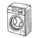 Wasmachine op witte achtergrond Stock Foto's