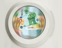 Wasmachine schoonmakende partijen van Euro bankbiljetten - concpt tonend witwassen van geld, vuil geld, verborgen lonen, salariss royalty-vrije illustratie