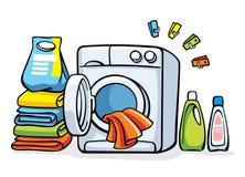 Wasmachinemachine met kleren Stock Fotografie