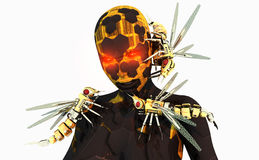 Wasp commander cyborg. High resolution cyborg character with mechanical wasp minions Stock Images