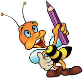 Wasp holding Pencil Stock Images