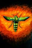Wasp p? bakgrunden av brand, akrylillustration Scenansvarig arkivfoton