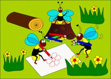 Wasps painter. Wasp painter flowers wood forest illustration vector illustration