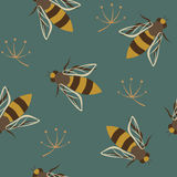 Wasps seamless pattern Royalty Free Stock Image