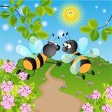 Wasps. Sunny summer landscape. vector illustration Stock Photo