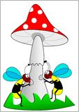 Wasps and toadstool. Wasp toadstool grass insect animal stock illustration