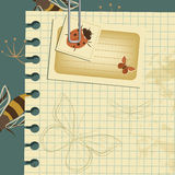 Wasps vintage template. Vintage template with wasps seamless pattern, card with ladybug and blank sheet of a notebook Stock Images