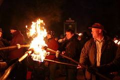 Wassail night fire. Wassail night occurs in January in England and is an age old tradition when the apple tree is blessed to give a good harvest particular in Stock Images