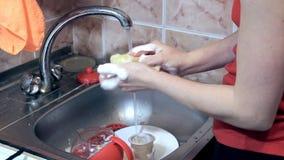 Wasschotels in een gootsteen stock footage